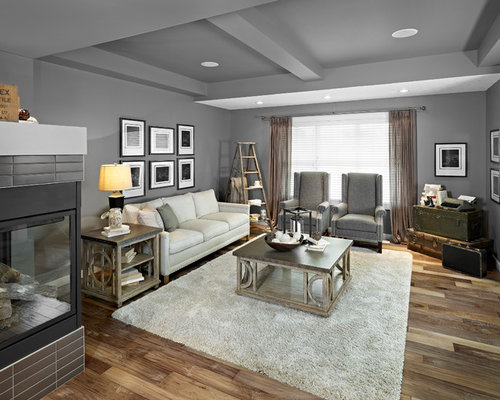 Eclectic Living Room Photo In Edmonton With A Corner Fireplace And Gray  Walls