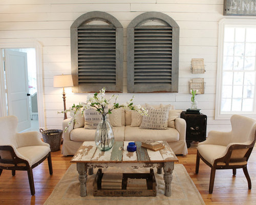 Living Room   Mid Sized Shabby Chic Style Open Concept And Formal Medium  Tone