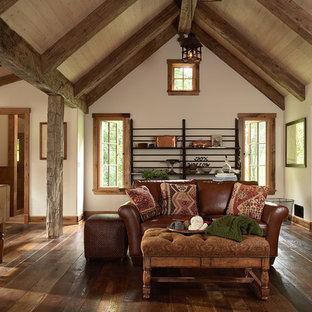Living room - rustic dark wood floor living room idea in Minneapolis with white walls