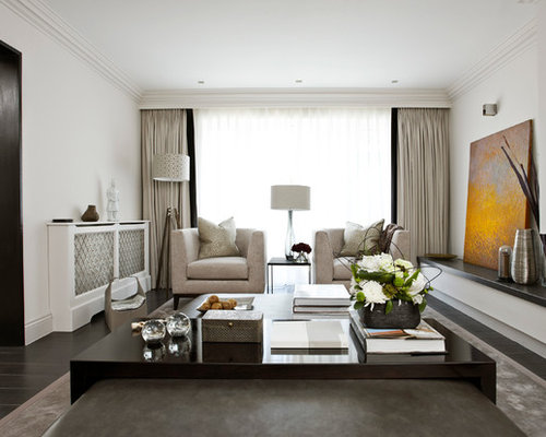Trendy Enclosed Living Room Photo In London With White Walls