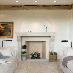 Inspiration for a country formal living room remodel in Boston with white walls, a standard fireplace and a tile fireplace