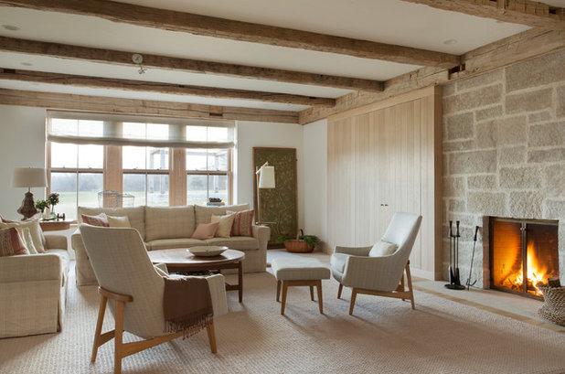 Farmhouse Living Room by Holmes Hole Builders LLC