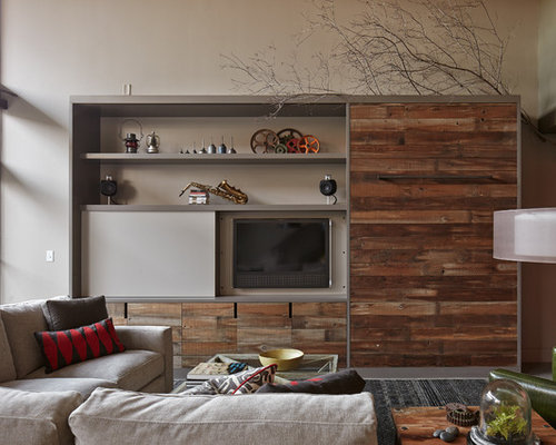 Industrial Living Room Design industrial living room with a concealed tv ideas & design photos