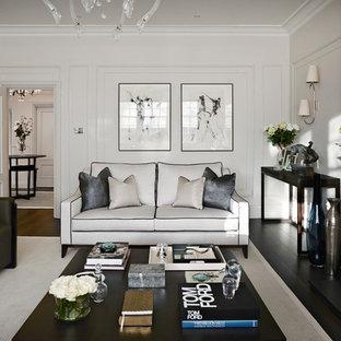 Inspiration för ett funkis vardagsrum, med ett finrum, vita väggar, mörkt trägolv och en väggmonterad TV