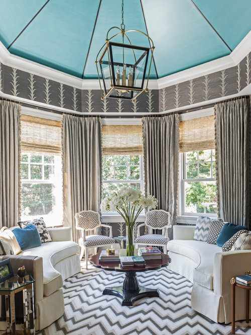Example Of A Classic Formal Living Room Design In New York With Gray Walls