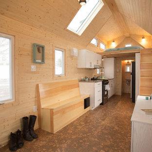他の地域の小さいトラディショナルスタイルのおしゃれなLDK (茶色い壁、コルクフローリング、吊り下げ式暖炉、壁掛け型テレビ) の写真