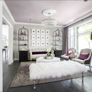 Immagine di un soggiorno shabby-chic style di medie dimensioni e aperto con sala formale, pareti grigie, parquet scuro, nessun camino, nessuna TV e pavimento marrone