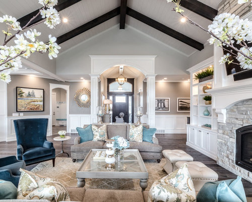 ceiling design ideas for living room. Large traditional open concept and formal dark wood floor gray living  room idea in Cathedral Ceiling Design Ideas Houzz