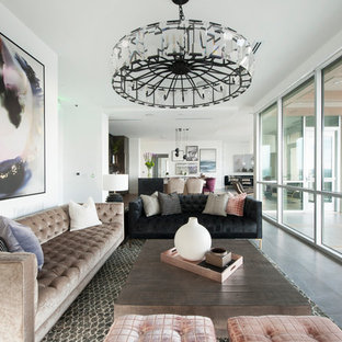 Inspiration for a transitional open concept gray floor living room remodel in Los Angeles with white walls