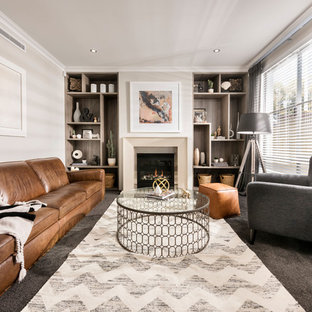 This is an example of a medium sized classic formal living room in Perth with carpet, a standard fireplace and no tv.