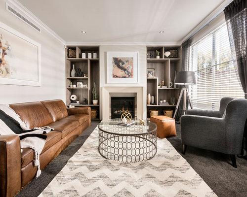 Beige living room design ideas renovations photos with for Beige carpet living room
