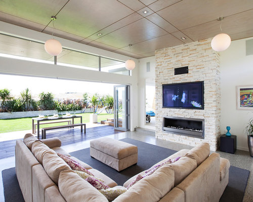 Minimalist Living Room Photo In Other With A Ribbon Fireplace