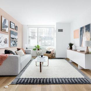 Salon scandinave avec un mur rose : Photos et idées déco de ...
