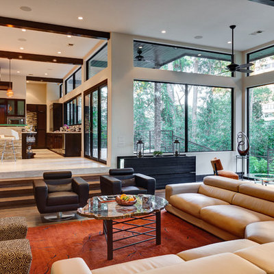 Living room - huge contemporary open concept living room idea in Houston
