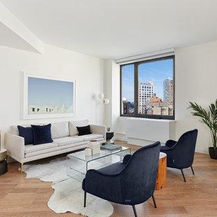 Trendy Formal And Open Concept Medium Tone Wood Floor And Brown Floor Living  Room Photo In