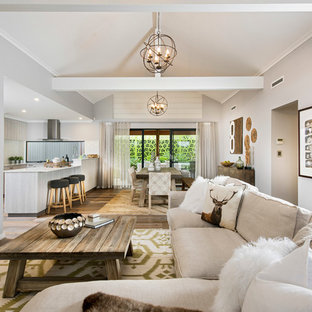 Design Ideas For A Beach Style Open Concept Living Room In Perth With  Medium Hardwood Floors
