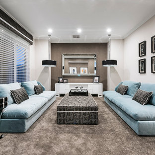 Photo of a contemporary formal living room in Perth with beige walls, carpet and no tv.