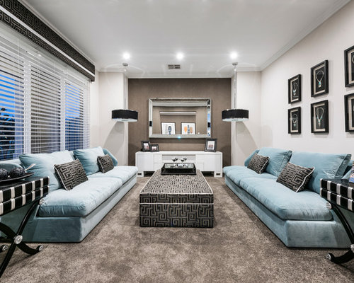 Photo Of A Contemporary Formal Living Room In Perth With Beige Walls,  Carpet And No Part 85