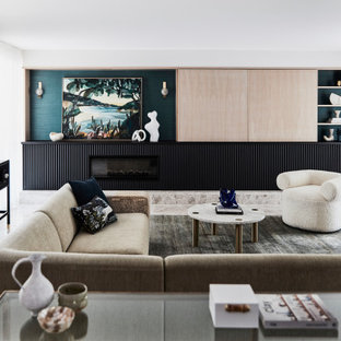 Photo of a contemporary living room in Sydney with white walls, a ribbon fireplace, a concealed tv and grey floor.