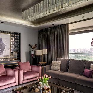 Ispirazione per un soggiorno contemporaneo di medie dimensioni con pareti grigie, pavimento in marmo, TV nascosta e pavimento grigio