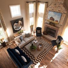 Farmhouse Living Room by Crimson Design Group