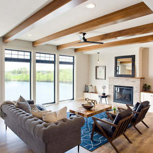 Mid Sized Transitional Open Concept Laminate Floor And Brown Living Room Photo In Other