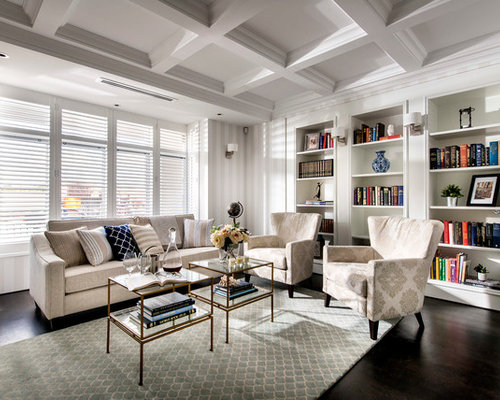 Example Of A Mid Sized Classic Enclosed Dark Wood Floor Living Room Library  Design In Part 58