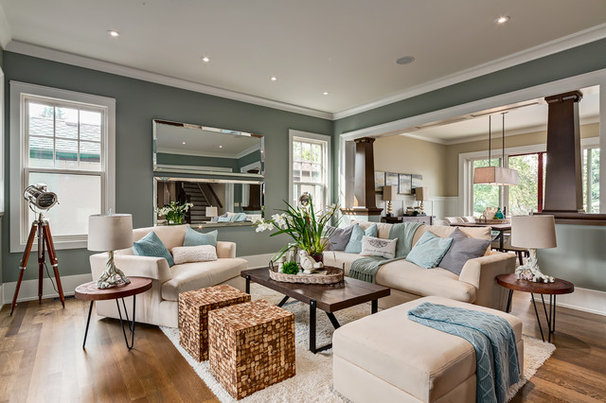 Craftsman Living Room by Manor House Crafted Homes Inc.