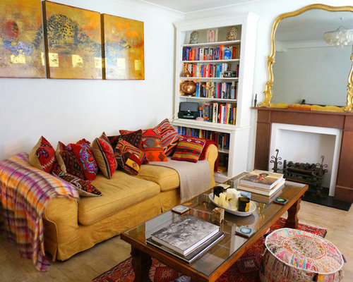 Mid Sized Eclectic Enclosed Light Wood Floor Living Room Idea In London With White Walls