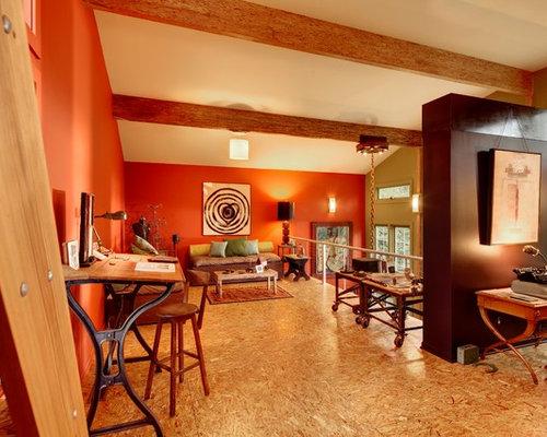 salon contemporain avec un sol en contreplaqu photos et id es d co de salons. Black Bedroom Furniture Sets. Home Design Ideas