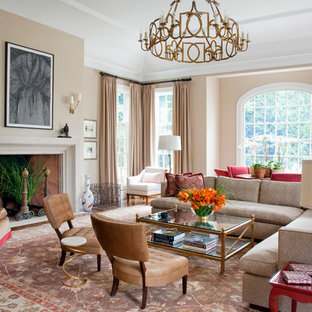 Living room - traditional living room idea in Boston with beige walls and a standard fireplace