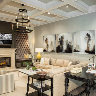 Design ideas for a large classic open plan living room in Atlanta with brown walls, light hardwood flooring, a standard fireplace, a stone fireplace surround and a built-in media unit.