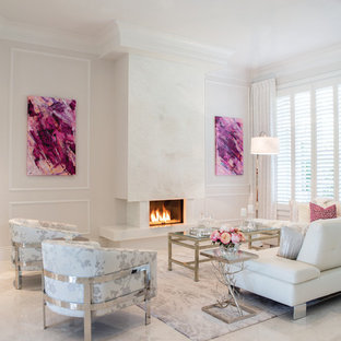 Inspiration for a large contemporary formal open concept living room in Miami with white walls, travertine floors, a ribbon fireplace and a stone fireplace surround.