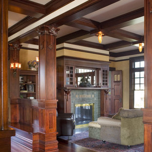 Arts and crafts living room photo in Portland with a tile fireplace