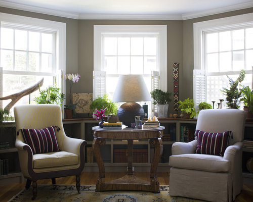 Example Of A Coastal Living Room Design In Boston