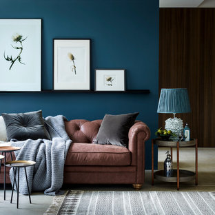 Inspiration For A Medium Sized Contemporary Living Room In London With Blue  Walls, Concrete Flooring