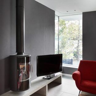 ロンドンの中サイズのコンテンポラリースタイルのおしゃれな独立型リビング (グレーの壁、磁器タイルの床、吊り下げ式暖炉、据え置き型テレビ) の写真
