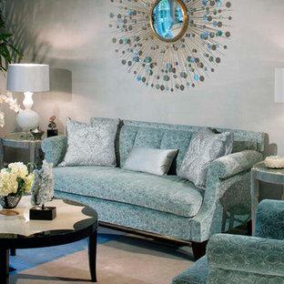 Modelo de salón para visitas abierto, tradicional renovado, grande, con paredes grises y suelo turquesa
