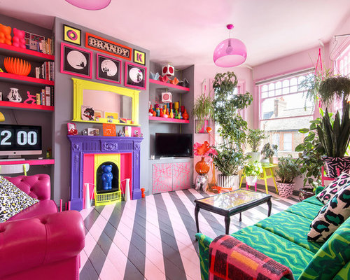 75 Living Room with Pink Walls Design Ideas - Stylish Living Room ...