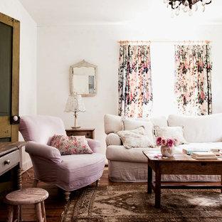 Living room - shabby-chic style dark wood floor living room idea in Los Angeles