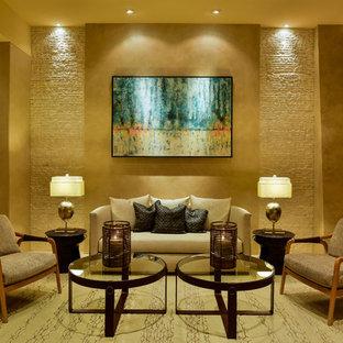 他の地域の巨大なコンテンポラリースタイルのおしゃれなLDK (フォーマル、ベージュの壁、トラバーチンの床、テレビなし) の写真