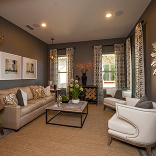 Inspiration For A Contemporary Living Room In Phoenix With Grey Walls No Fireplace And
