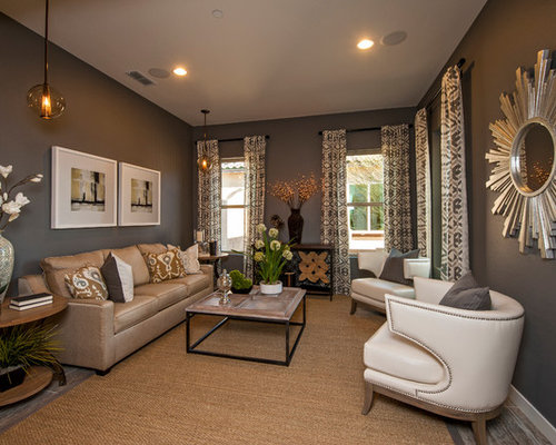Grey brown living room houzz for Grey and brown living room ideas