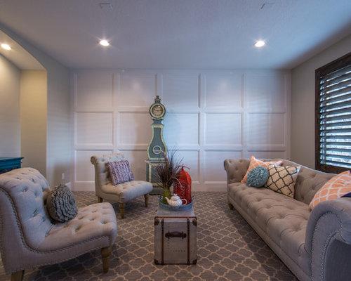 Arts and crafts blue living room design ideas renovations for Arts and crafts living room ideas