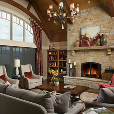 Rustic Living Room by Allard & Roberts Interior Design, Inc