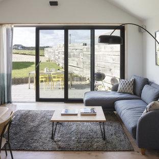 Esempio di un piccolo soggiorno design aperto con pareti bianche, pavimento in legno verniciato e TV autoportante