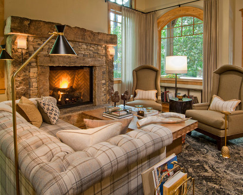 Rustic living room design ideas remodels photos houzz for Rustic concept
