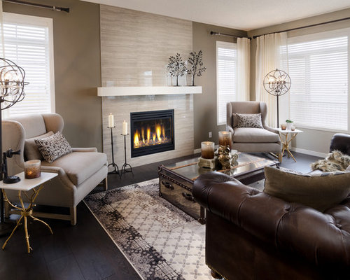 Trendy Black Floor Living Room Photo In Calgary With A Tile Fireplace Part 36