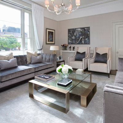 Living room - contemporary enclosed living room idea in London