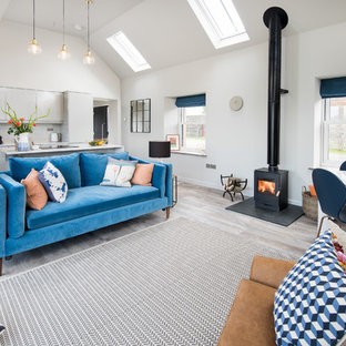 Medium sized contemporary open plan living room in Other with grey walls, laminate floors, a wood burning stove, a wall mounted tv and grey floors.